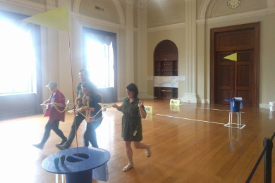 playing in the patent library at the Franklin Institute